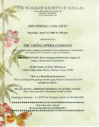 Wagner Society of Dallas presents the Living Opera of Dallas